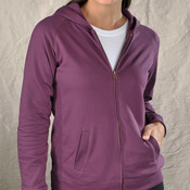 Ladies' French Terry Hooded Raglan Full-Zip Jacket