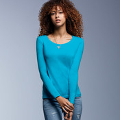 Ladies' Sheer Long-Sleeve Scoop Neck Cotton Tee