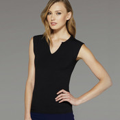 Ladies' Cotton/Spandex Slit-V Raglan Tee